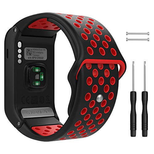 MoKo Watch Band Compatible with Garmin Vivoactive HR, Soft Silicone Multihole Replacement Watch Band for Garmin Vivoactive HR Sports GPS Smart Watch - Black & Red