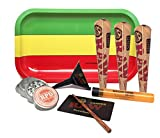 Bundle - 7 Items - Rolling Paper Depot Rolling Tray(Rasta), RAW Natural Pre-Rolled Cone 1 1/4, RAW Lean Cone Loader, Rolling Paper Depot Grinder with Rolling Paper Depot Doobtube