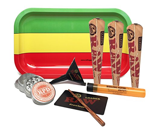 Bundle - 7 Items - Rolling Paper Depot Rolling Tray(Rasta), RAW Natural Pre-Rolled Cone 1 1/4, RAW Lean Cone Loader, Rolling Paper Depot Grinder with Rolling Paper Depot Doobtube by RAW, RPD
