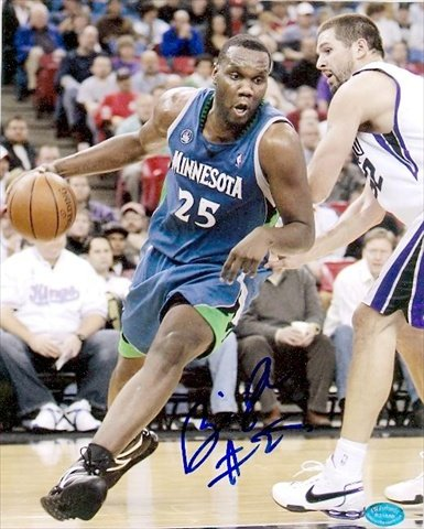 Autograph Warehouse 40501 Al Jefferson Autographed 8 x 10 Photo Minnesota Timberwolves