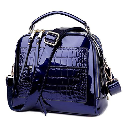 Patent Shopper - Women Handbags Leather Shopper Tote Bag Female Shoulder Bags Patent Women's Bag,Blue,25cmX12cmX22cm
