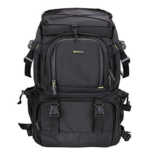 Evecase Extra Large DSLR Camera/Laptop Travel Backpack Gadget Bag w/ Rain Cover - Black