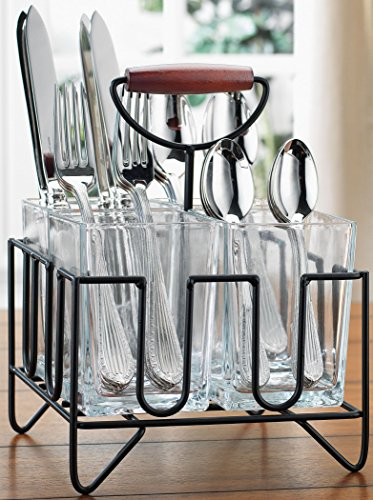 Home Essentials & Beyond 4 Section Flatware Silverware Kitchen Utensil Dinnerware Tableware Holder Caddy in Wire Basket Ideal for Kitchen, Dining, Entertaining, Tailgating, Picnics Black Clear