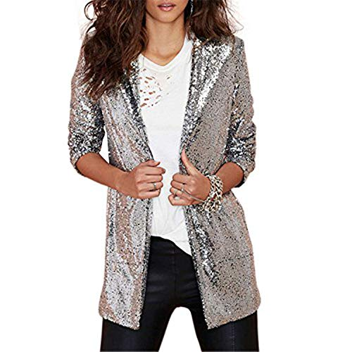 HaoDuoYi Womens Womens Casual Silver Sequins Pocket Side Coat Jacket(M,silver)