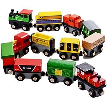 Amazon Com 12 Pieces Wooden Train Cars Set Includes 3