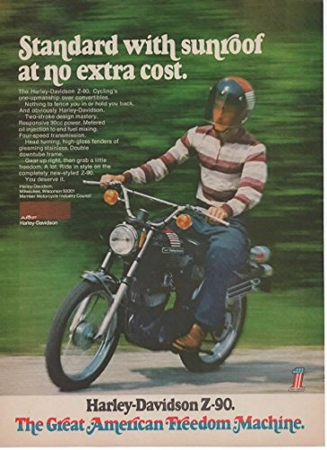 """Vintage Magazine Print Ad 1973 Harley Davidson Z-90 """"Standard with sunroof at no extra cost"""""""