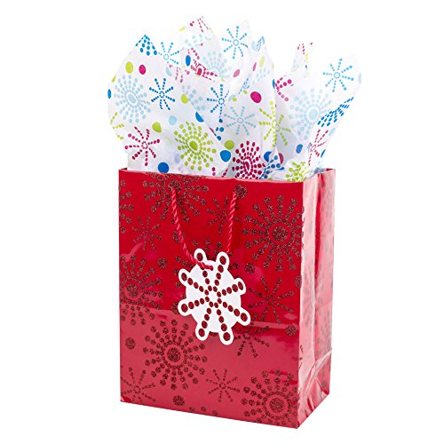 Gift Wrap Dvd - Hallmark Medium Gift Bag with Tissue Paper for Birthdays, Baby Showers or Any Occasion (Red Glitter Starburst)