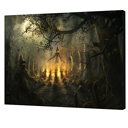NAN Wind One Piece Scary Halloween Decoration Wall Art Dark Forest Halloween Witch Wall Decorations Festive Decorations Poster Paintings on Canvas Stretched and Framed Ready to Hang for Home Decor (Led Wall Halloween Art)