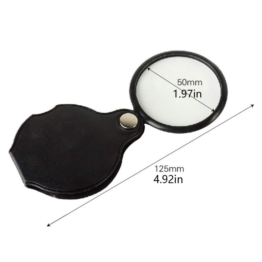 4 piezas Lupa de bolsillo de 8X lentes de cristal herramienta de lupa plegable port/átil redonda con bolsa de cuero
