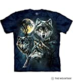 The Mountain Moon Wolves Collage Adult T-Shirt, Blue, Small