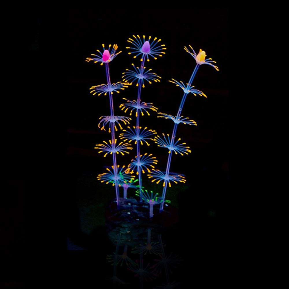 Roblue Plantes Corail Simulées sous-Marine Artificiel Fluorescence Décoration pour Aquarium Fish Tank en Silicone 20cm