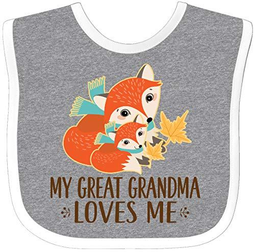 (Inktastic - My Great Grandma Loves Me Fox Baby Bib Heather/White 2dc0d)