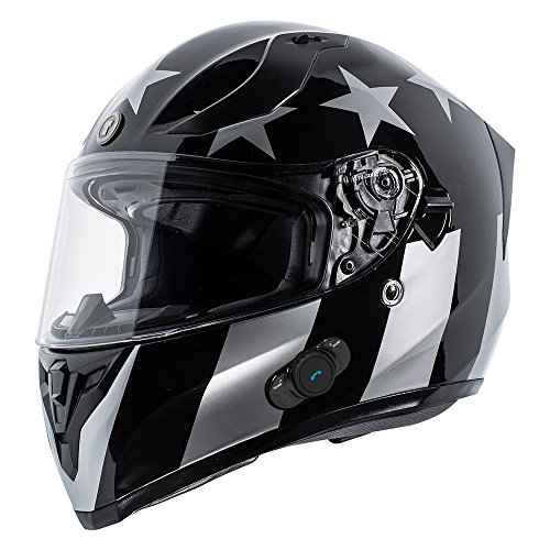 TORC T15B Bluetooth Integrated Full Face Motorcycle Helmet With Graphic (Gloss Black Captain Shadow,Medium)
