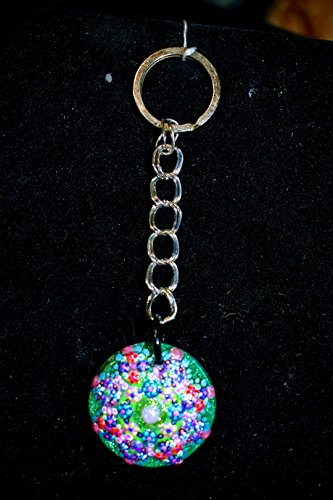Hand Painted Small Glass Green Keychain With Natural Wooden ()