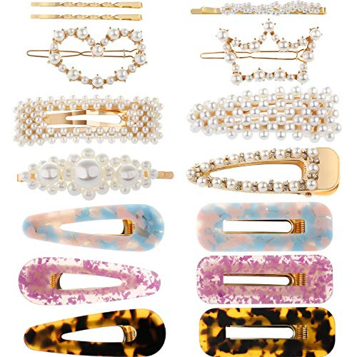 15 Pieces Resin Acrylic Clips Artificial Pearl Hair Barrettes Duckbill Geometric Hairpins Alligator Clips for Women Hair Accessories