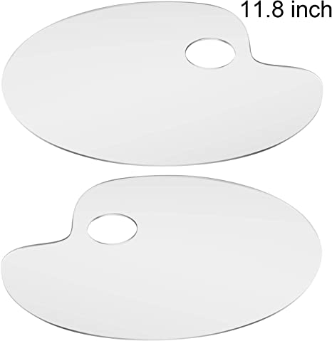 Monrocco Clear Acrylic Palette Oval Paint Tray Mixing Palette for DIY Craft Professional Art Painting