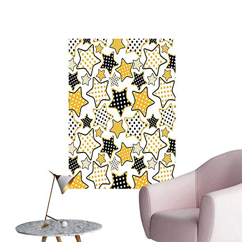 Wall Art Prints Polkadots in Big Small Stars Pattern 60s Style Party Rockn Roll for Living Room Ready to Stick on Wall,32