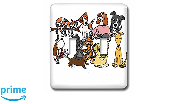 3dRose lsp/_218739/_1 Funny Rescue Dogs And Cats Abstract Original Art Single Toggle Switch