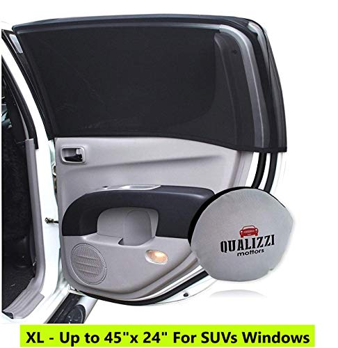 XL/Car Window Sun Shades for SUVs Windows up to 45 x 24 in. Mesh Shade Socks for Baby. Covers Fully