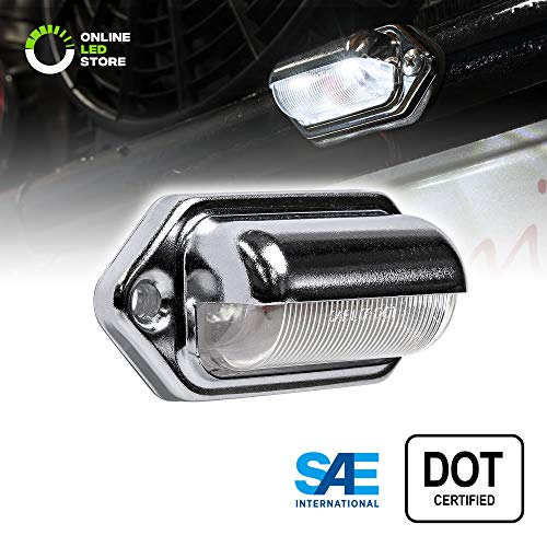 1pc LED License Plate Light [SAE/DOT Certified] [Waterproof] [Heavy Duty] Convenience LED Courtesy Light for Trailers, RV, Trucks & Boats License Tags - Chrome Housing