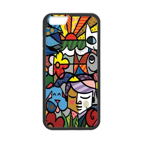 Fayruz- Personalized Protective Hard Textured Rubber Coated Cell Phone Case Cover Compatible with iPhone 6 & iPhone 6S - Romero Britto Cartoon F-i5G979