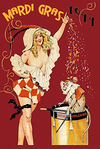 - CANVAS 1944 Blond Girl Monkey Mardi Gras Carnival New Orleans USA Travel Vintage Poster Repro 24