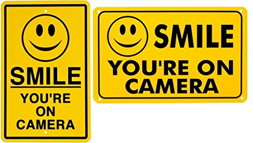 Cdma Bluetooth Camera (2 Pcs Immaculate Popular Smile You are on Camera Sign Premises Monitored CCTV Warning Anti-Thief Dimensions 7