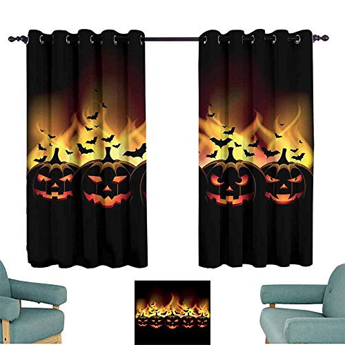 Mannwarehouse Vintage Halloween Printed Curtain Happy Halloween Image with Jack o Lanterns on Fire with Bats Holiday Suitable for Bedroom Living Room Study, etc.63 Wx72 L Black -