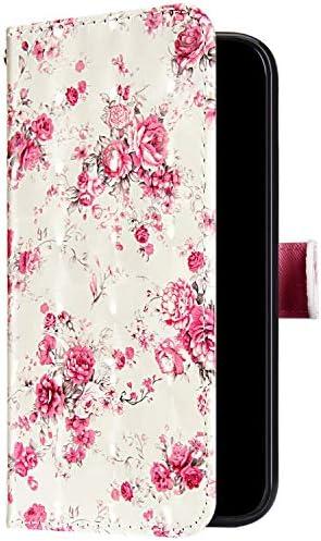 Uposao Kompatibel mit Samsung Galaxy A6 2018 Handyhülle Bunt Bling Glitzer Glänzend 3D Muster Tasche Schutzhülle Brieftasche Leder Hülle Klapphülle Flip Case Kartenfächer Magnet,Rose Blumen