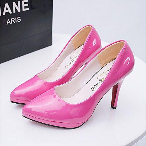 LIVY atractiva 2017 de primavera y verano de las mujeres señaló 10cm se inclinan los zapatos altos modelos de explosión a prueba de agua Púrpura