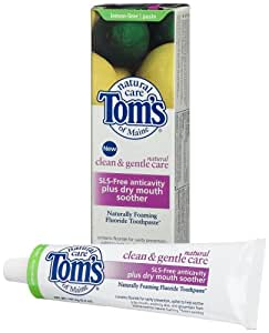 Tom's of Maine Clean and Gentle SLS-Free Anticavity plus Dry Mouth Soother Toothpaste, Lemon-Lime, 5.2-Ounce Tubes (Pack of 4)