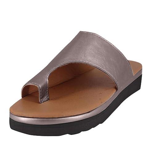 san francisco 05f72 e36a3 Sillor Classic Sandalen Damen Keile Zehentrenner Casual stylische  Pantolette mit Kork-Fußbett Flacher Sandalen