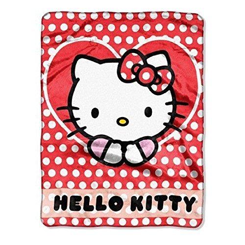 Sanrio Hello Kitty Silk Touch Throw White Polka Dots Blanket