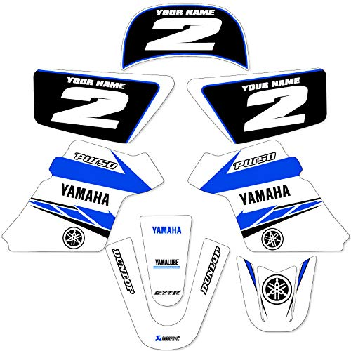 YAMAHA PW 50 PW50 GRAPHICS KIT DECALS DECO Fits Years 1990-2018 Enjoy Mfg (WHITE)