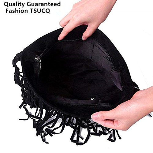 Crossbody Messenger Faux FTSUCQ Womens Suede Tassel Black Hobo Bag Shoulder Fringe Handbag Bags XwS4wqrnv