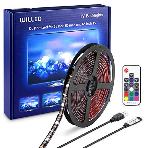TV LED Backlight | WILLED 12.6ft Customized for 55 60 65 inch TV | USB LED Strip Lights kit | Monitor Bias Lighting RGB Light Strip with RF Remote