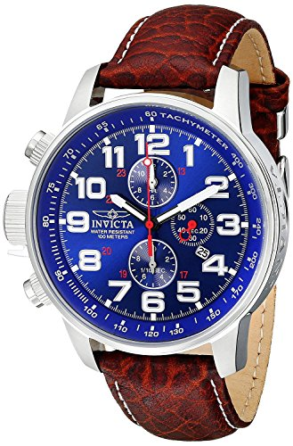 Dress Dial Brown (Invicta Men's 3328 Force Collection Stainless Steel Left-Handed Watch with Leather Band, Brown/Blue Dial)