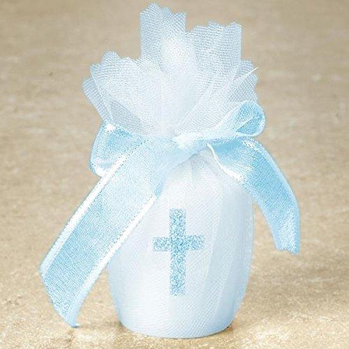 Cross Votive Candles (Blue Cross Votive Candle) (Blue Glitter Cross Candle)