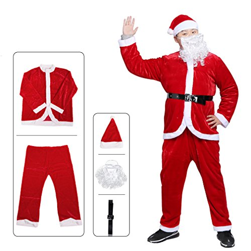 Gelma Santa Claus Costume Suit For Adult Men Christmas Party Flannel Velvet Red  sc 1 st  laseille.com & 12 best santa suit belt for 2018 | Top Best Review