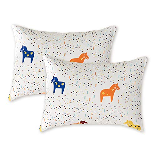 Uozzi Bedding 2 Pack Toddler Pillowcases, 19 x 14 inches Pillow Case for Boys, Girls, Infant, Kids, Ultra Soft and Breathable. (Colorful Horse)