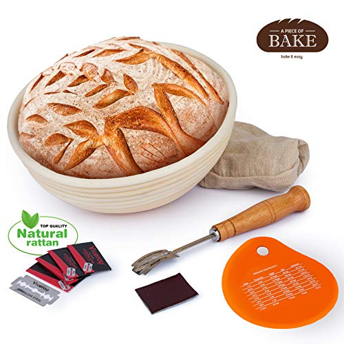 Proofing Basket Baking Kit for Professional and Beginner Bakers - Natural Wooden Bread Basket and Bread Baking Supplies Set with Silicone Bench Scraper, Bread Lame, and Cloth Liner by A - Basket Proofing