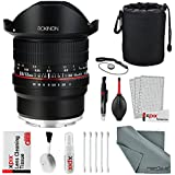 Rokinon 12mm f/2.8 ED AS IF NCS UMC Fisheye Lens for Sony E Mount (12M-E) with Deluxe Accessory Bundle and Cleaning Kit