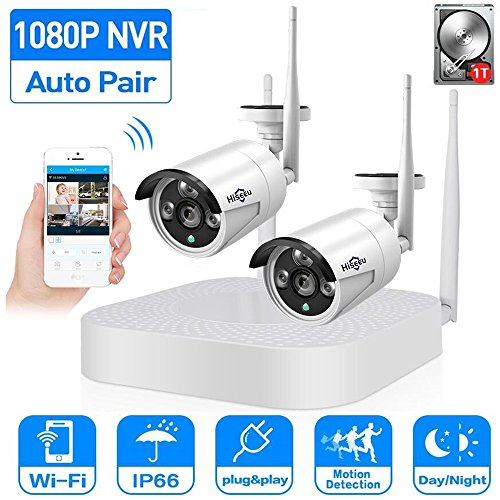 2CH 960P HD Video Wireless Security Camera System,HisEEu Extensible 4 channel 1080P WiFi NVR Kits for 2PCS 1.3MP Wireless Waterproof Bullet IP Cameras,Indoor/Outdoor,WiFi camera, 1TB HDD Pre-installed
