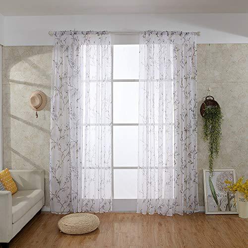 Voile Circle - Sheer Window Curtain Panels Window Treatment Curtain Circle Pattern Voile Drape Valances Natural Light Flirt Rod Pocket Curtain Panels for Bedroom Living Room - 78.7X39.4