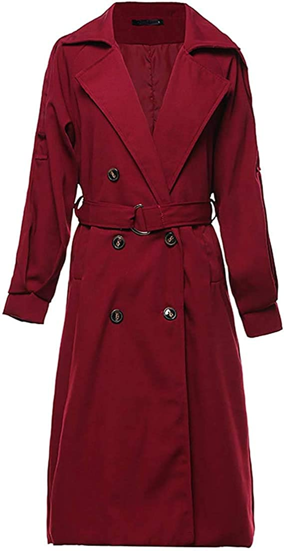 X-Large, Wine Red Yeokou Womens Causal Double Breasted Spring Fall Long Trench Coat with Belt