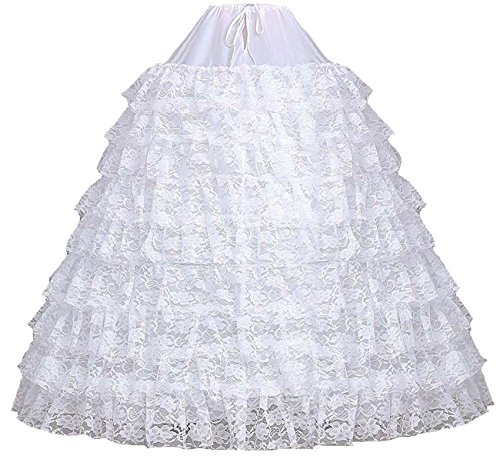 Fanhao Women's 6 Rings 9 Layers Ruffles Lace Petticoat Slips Crinoline for Ball Gown Dress,White (Crinoline Petticoat Lace)