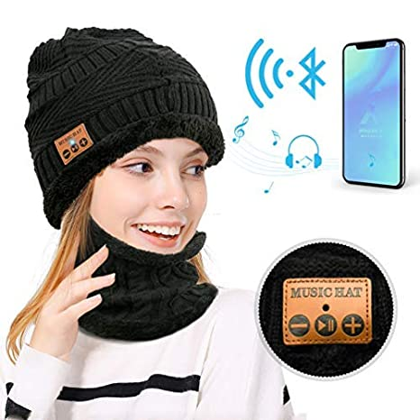 MEETYOO Bluetooth Beanie Hat, Winter Knit Beanies Neck Warmer Scarf Set with Wireless Stereo Music, Built-in Microphone for Hand-Free Calling, Woman...