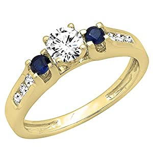 14K Yellow Gold Round White & Blue Sapphire & Diamond Bridal Engagement Ring (Size 6.5)