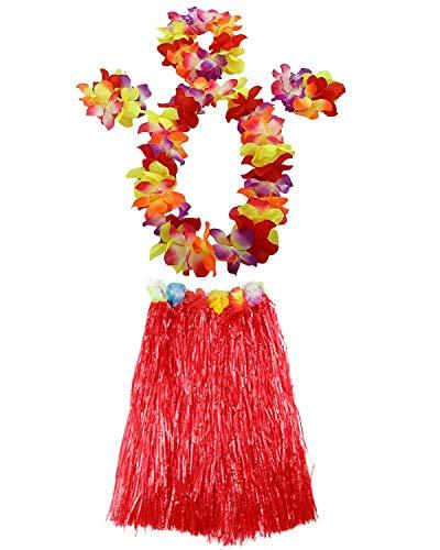 AniiKiss 1 Set 60cm Adult Hula Grass Skirt Hawaiian Party Costume Luau Dance Skirts (Red) -