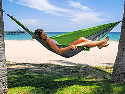 Double and Single Hammocks - Ultralight Portable Nylon Parachute Hammock for Light Travel, Camping, Hiking, Backpacking, Mats, Swing, Carpet - Apriller